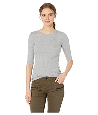 Michael Stars Tara Ultra Rib Slim Crew Neck Tee (Heather Grey) Women
