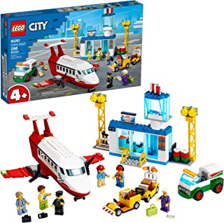 LEGO City Central Airport 60261 Building Toy, with Passenger Charter Plane, Airport Building, Fuel Tanker, Baggage Truck, ...