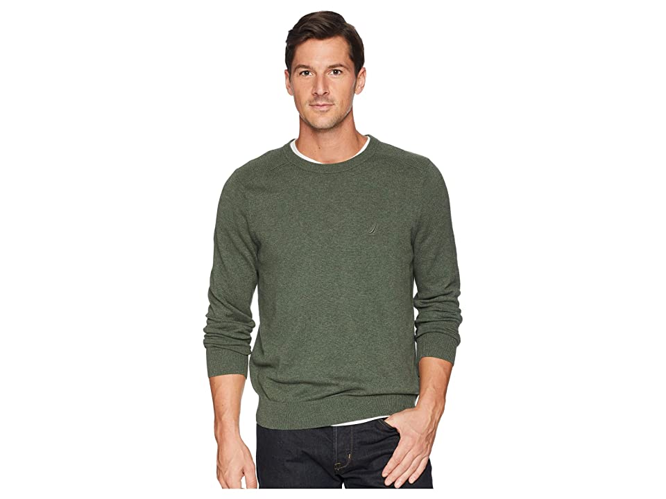 Nautica Solid Crew Neck Sweater (Pine Forest Heather) Men