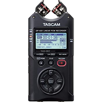 Tascam DR-40X Four-Track Digital Audio Recorder and USB Audio Interface, Black