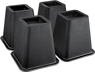 Greenco Super Strong Bed and Furniture Riser, Sleek Design, Great for Under Bed Storage - Pack of 4, Black