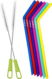 Tegion Slender Reusable Silicone Drinking Straws With Brush and Storage Pouch-For 20 30 Ounce Yeti Rtic 24 Ounce Tervis Tu...