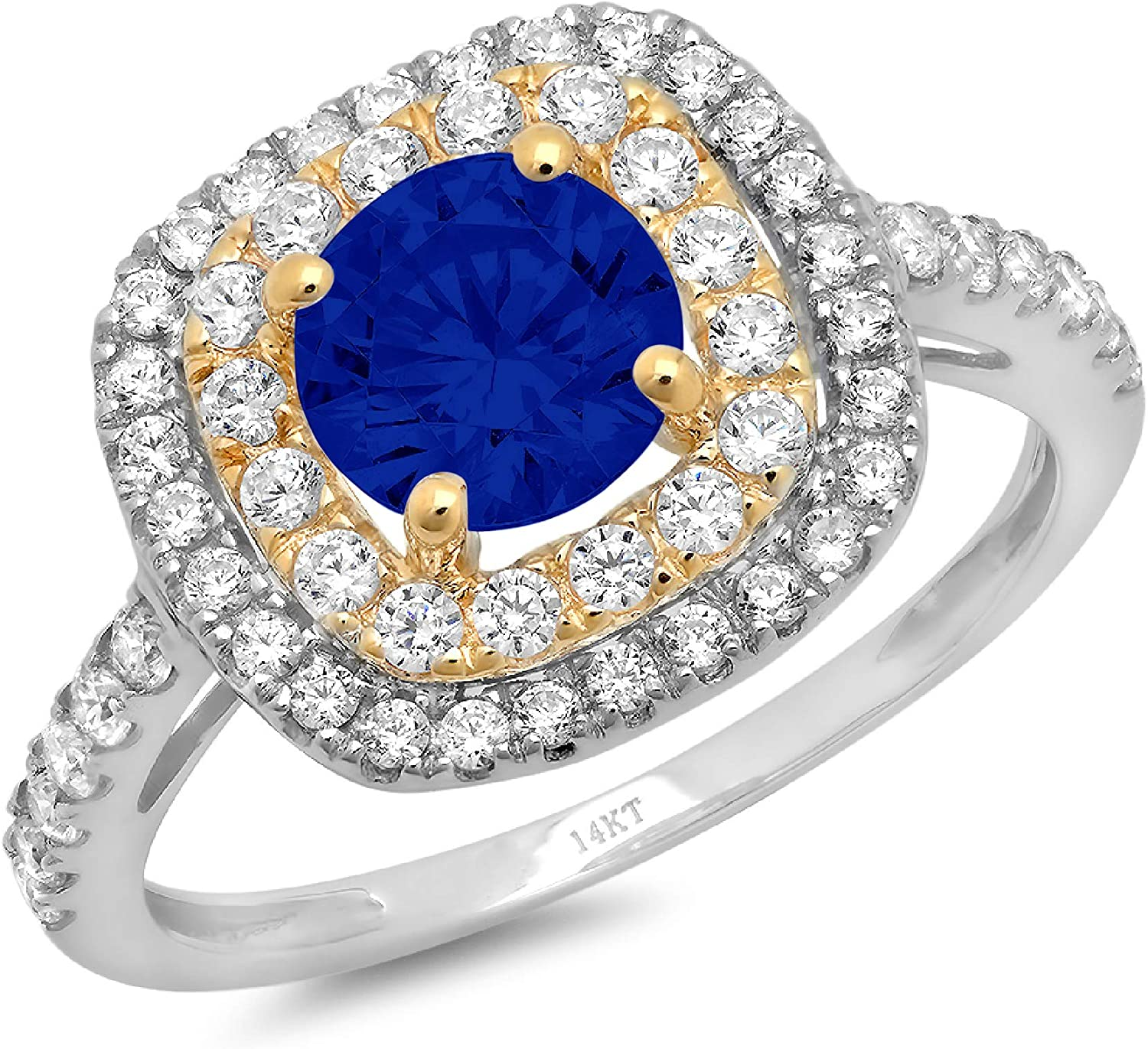 1.69ct Round Cut Solitaire double Halo Flawless Ideal Genuine Cubic Zirconia Blue Sapphire Engagement Promise Statement Anniversary Bridal Wedding Accent Designer Ring 14k White & Yellow Gold