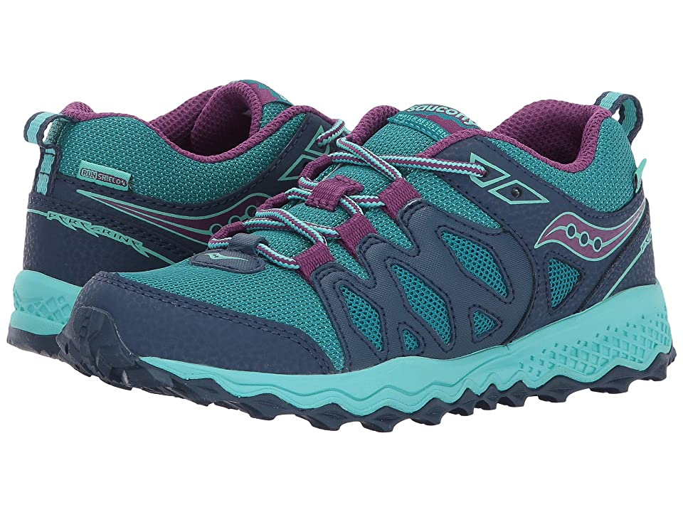 Saucony Kids Peregrine Shield (Little Kid/Big Kid) (Navy/Turquoise/Purple) Girls Shoes