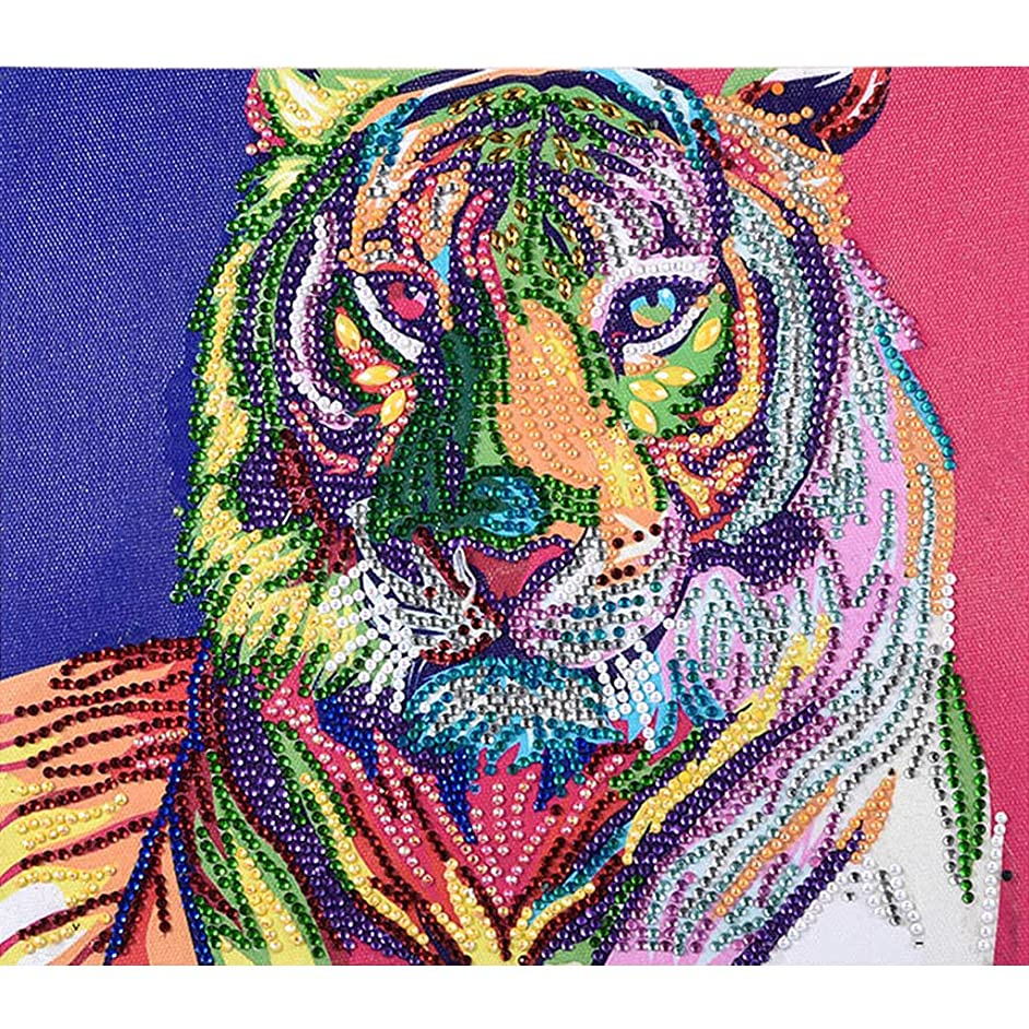 DIY 5D Diamond Painting Kits Full Drill Tiger Animal Embroidery Cross Stitch Rhinestone Pictures Diamond Arts Craft 11.8x15.8 inch (Tiger 2)