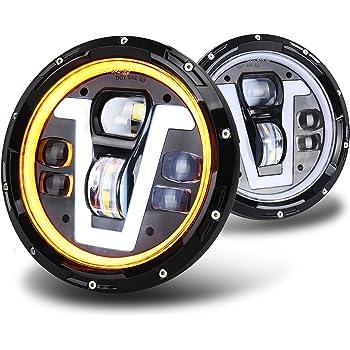 OVOTOR Faros delanteros LED de 7 pulgadas con anillo halo ámbar, direccionales tipo V blanco DRL haz alto y bajo para Jeep Wrangler JK TJ LJ CJ Negro