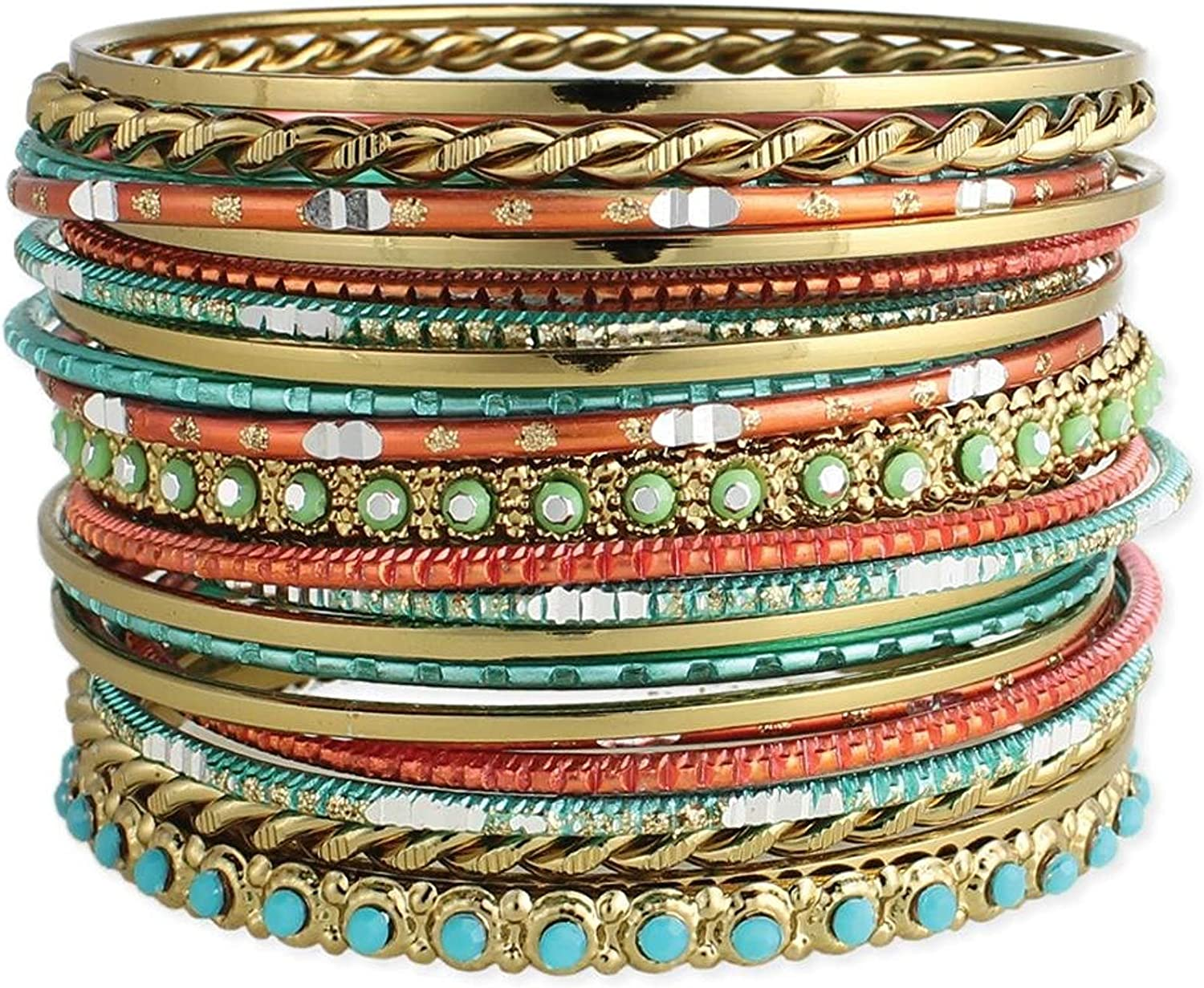 Set of 22 Golden, Turquoise and Coral Bangle Bracelets