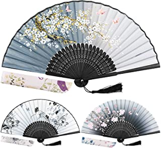 EAONE 3 Pcs Hand Folding Fan, Chinese Vintage Style Handheld Fan with Fabric Sleeve, Silk Fan with Bamboo Frame and Elegan...