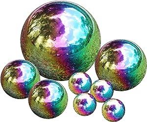 Kunjocy Stainless Steel Gazing Ball, 8 Pcs 50-150mm Rainbow Mirror Hollow Ball Reflective Garden Sphere, Floating Pond Balls Gazing Globe for Home Garden Decorations (8 Pcs Mix)