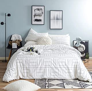 SUSYBAO 3 Piece Duvet Cover Set 100% Natural Cotton King Size Black and White Striped Bedding Set with Zipper Ties 1 Abstract Geometric Duvet Cover 2 Pillowcases Luxury Quality Soft Comfortable