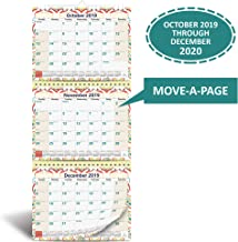3-Month Wall Calendar 2019 - 2020 by StriveZen, Move-a-Page, 11 x 26 Inches, 39 Sheets, Large, Vertical, Wire bound, October 2019 - December 2020, Folds Like a Notebook, Big Numbers, Large Daily Block
