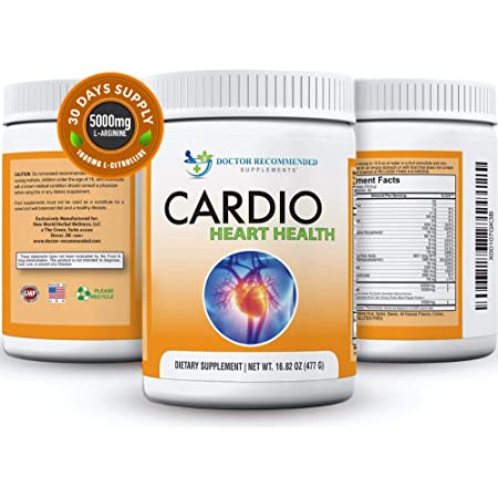 Cardio Heart Health Powder – L-Arginine Supplement 5000mg & L-Citrulline 1000mg,16.82 oz