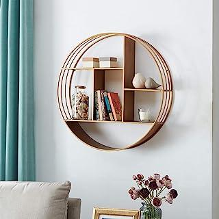 "FirsTime & Co. Brooklyn Gold Circular Floating Shelf, 27.5"" diameter x 6"" depth"