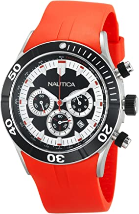 Nautica Mens NSR 01 Quartz Stainless Steel and Resin Casual ...