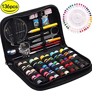 STURME Sewing KIT 40 Colors Threads Hand Sewing Tool Kit for Travel Home Emergency and Easy to Use for Adults Beginners-136PCS