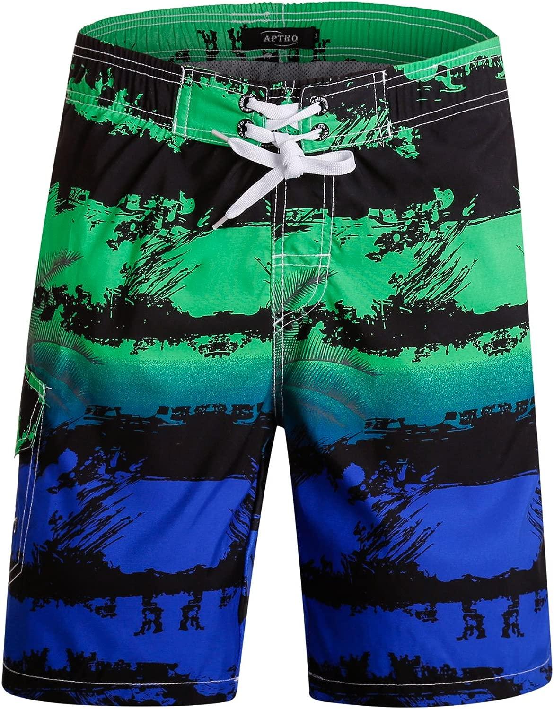 APTROメンズスイムトランクスビーチショーツ水着パンツ水着ハイウエストクイックドライサーフ水泳ジャマー夏休みボードショーツカジュアルハワイアンサーフ弾性ショーツ1803グリーンブルーM