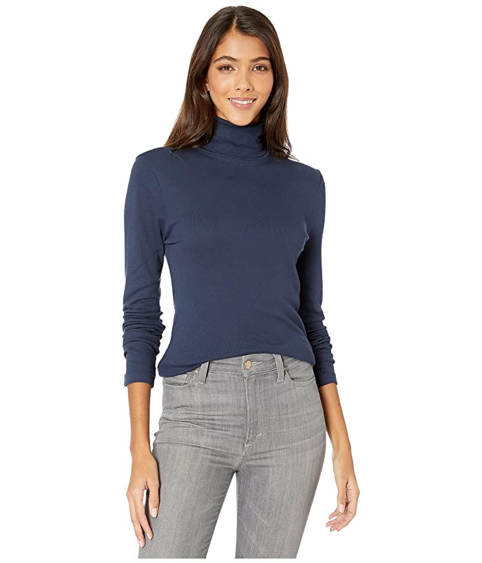 Splendid  1x1 Classic Long Sleeve Turtleneck (Navy 1) Womens Long Sleeve Pullover