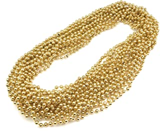 72 Pieces 33 inch 07mm Metallic Gold Color Mardi Gras Beads Beaded Necklace Ideal for New Years Eve, Anniversary Party, Party Favors, and Table Centerpiece Decorations