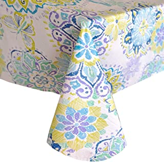 """Newbridge Shabby Chic Midsummer Medallion Print Vinyl Flannel Backed Tablecloth - Blue Butterfly Print Indoor/Outdoor Tablecloth for Patio and Kitchen Dining - 60"""" x 84"""" Oblong/Rectangle"""
