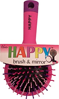 Mia Happy Brush, Detangling Brush with Mirror, Hot Pink with Pink, Purple, White Bristles, for Kids, Travel, Purse 1pc