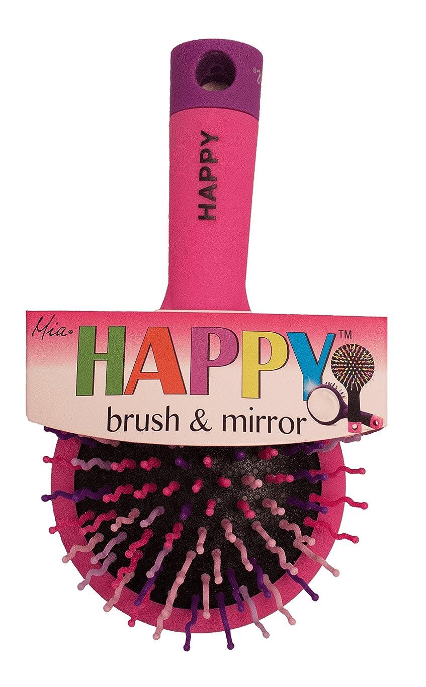 Mia Happy Brush-2 in 1 Detangling Brush W/Mirror-Beautiful Bright Hot Pink W/Pretty Hot Pink,Purple,White Bristles-Gift, Kids, Travel