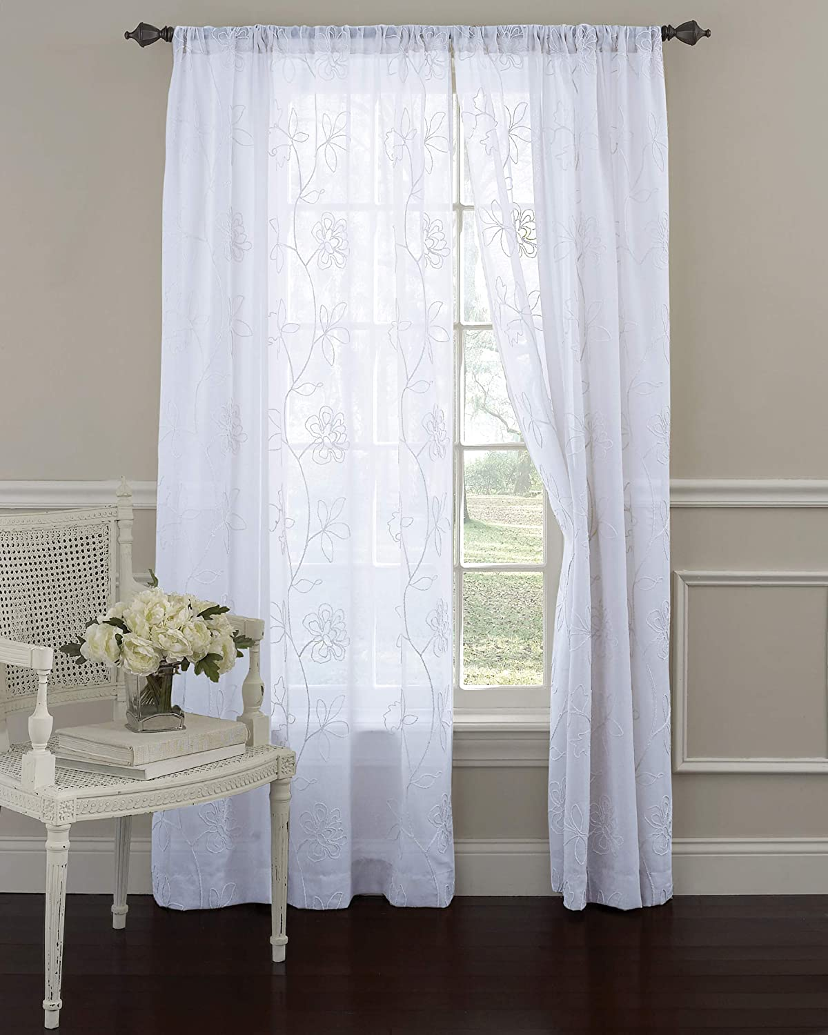 Laura Ashley Frosting Sheer Window Curtains 84 Inch Length, 52