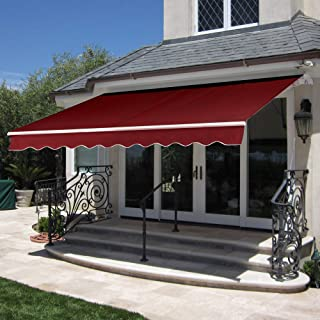 Best Choice Products 98x80in Retractable Patio Sun Shade Awning Cover w/Aluminum Frame, Crank Handle - Burgundy