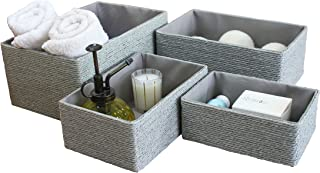 La Jolíe Muse Paniers Rangement en Papier Écologique Boîte de Rangement pour Placard Chambre Maison Décoration Lot de 4