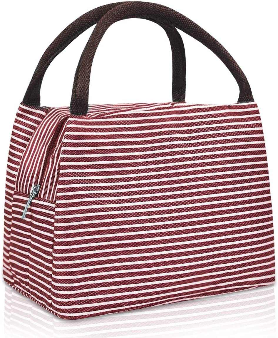 Insulated Lunch Bag for Women Waterproof Reusable Lunch Tote Lunch Bag Lunch Box for Work School Office Outdoors Picnic, Red Stripe