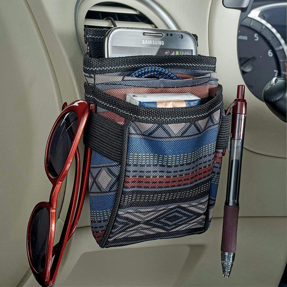 High Road DriverPockets Patterned Air Vent Phone Holder and Auto Dash Organizer (Black): Automotive