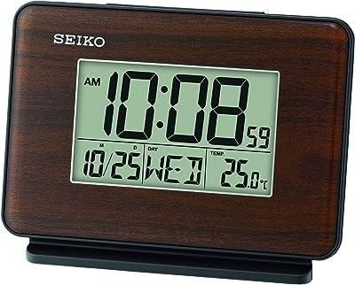 Seiko QHL068B - Reloj Despertador con Pantalla LCD (Medidas: 10,5 x 13