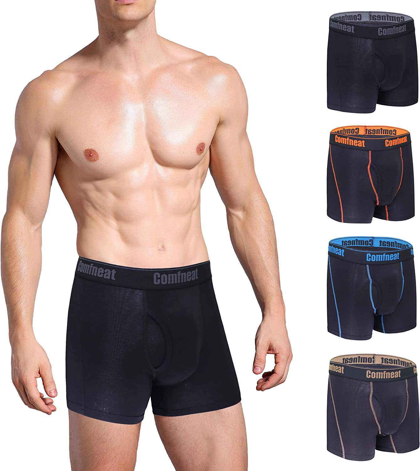 Comfneat Men's 4-Pack Boxer Briefs Bamboo Rayon Ultra Soft Comfy Underwear with Fly