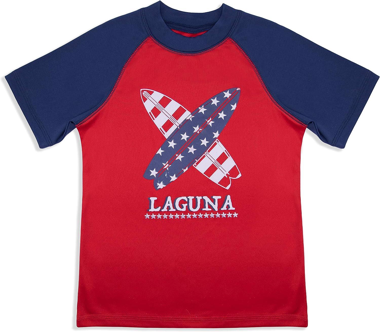 UPF 50+ LAGUNA Young Boys and Toddlers Stretch Swimsuit Crewneck Short Sleeve Rashguard Sun Tee and Swim Trunks Set