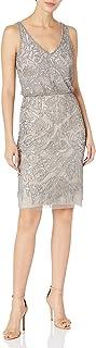 Women's Beaded Blouson Sheath Dress