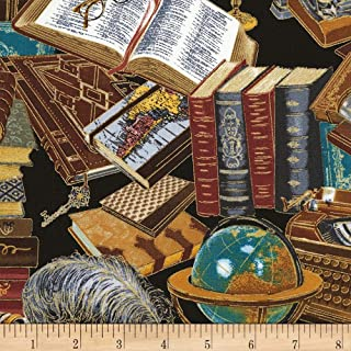 Timeless Treasures Metallic Library Books Black, Fabric by the Yard