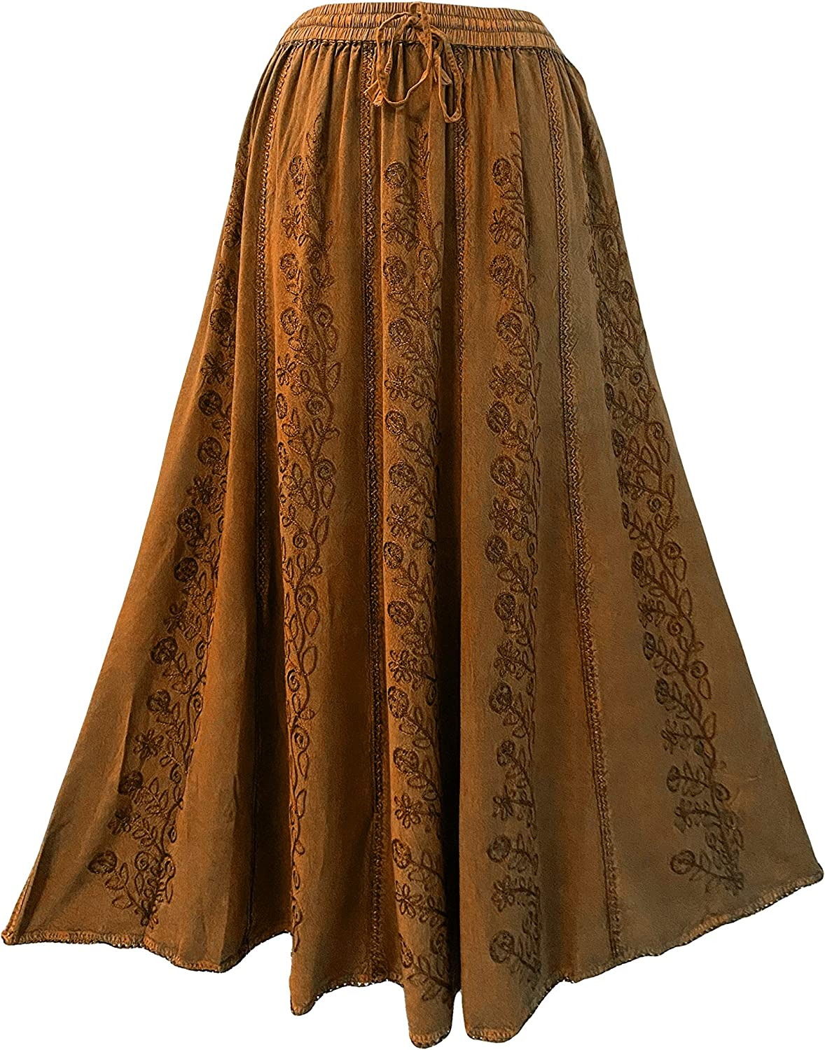 Agan Traders Women's Bohemian Medieval Vintage Embroidered Flared Panel Elastic Waistband Drawstring Long Maxi Skirt