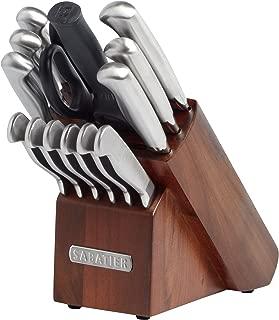 Sabatier 15-Piece Stainless Steel Hollow Handle Knife Block Set, Acacia
