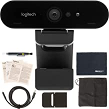 Logitech BRIO UHD 4K Webcam: (960-001105) with RightLight 3 and HDR Technology + AOM Bundle Kit