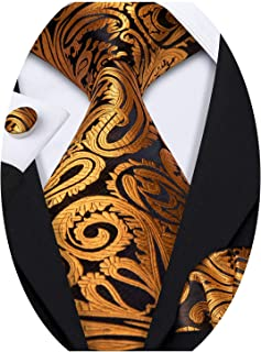 Barry.Wang Designer Mens Ties and Pocket Square Cufflinks Silk Necktie Set Paisley