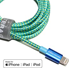 Tera Grand - Apple MFi Certified - Lightning to USB Braided Cable with Aluminum Housing, 7 Feet iPhone 11 Pro Max 11 Pro 11 XS XS Max XR 8 8 Plus 7 7 Plus iPad Pro Air Mini iPod (Blue & Green)