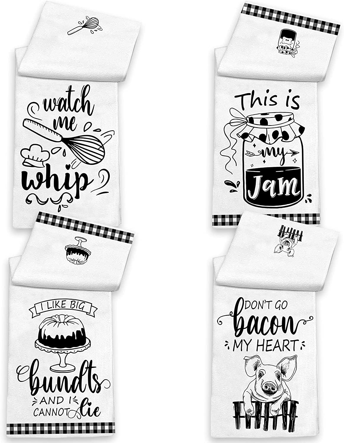 KamaLove Funny Kitchen Towels and Dishcloths Sets of 4 - Dish Towels with Sayings - House Warming Presents for New Home, Gifts for Women, Farmhouse Kitchen Decor, White