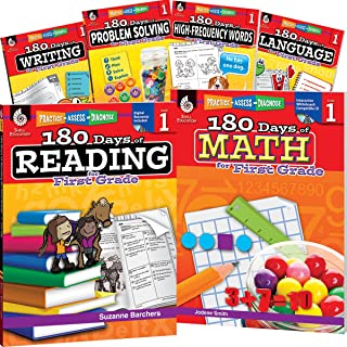 180 Days of First Grade Practice, 1st Grade Workbook Set for Kids Ages 5-7, Includes 6 Assorted First Grade Workbooks to Practice Math, Reading, ... and Sight Word Skills (180 Days of Practice)