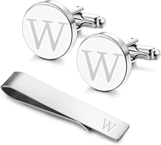 LOYALLOOK Stainless Steel Engraved Initial Cufflinks and Tie Clip Bar Set Alphabet Letter with Gift Box A-Z