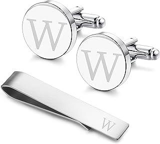 دکمه دستمال اولیه و LOYALLOOK حکاکی دستمال اولیه و کراوات نوار نامه الفبای حک شده با جعبه هدیه A-Z