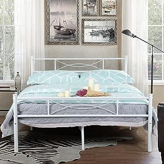 SimLife Steel Platform Box Spring Needed White Metal Bed Frame Full Size 10 Legs Two Headboards Mattress Foundation