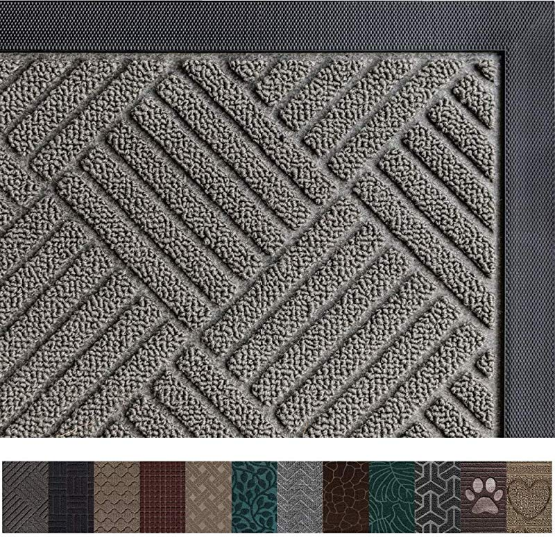 Gorilla Grip Original Durable Rubber Door Mat 29 X 17 Heavy Duty Doormat Indoor Outdoor Waterproof Easy Clean Low Profile Mats For Entry Garage Patio High Traffic Areas Gray Diamond