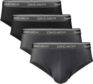 DAVID ARCHY Men's 4 Pack Bamboo Rayon Ultra Soft Comfort Lightweight Pouch Briefs