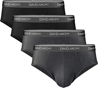 DAVID ARCHY Men's 4 Pack Bamboo Rayon Ultra Soft Comfort Lightweight Pouch Briefs