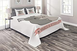 Lunarable Koala Coverlet Set Queen Size, Valentines Day Themed Hugging Australian Bears Loving Couple with a Banner, 3 Piece Decorative Quilted Bedspread Set with 2 Pillow Shams, Pink Beige