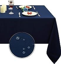رومیزی رومیزی مستطیل Obstal ، رول ضد آب و ضد آب و روکش مقاومت در برابر آب ، رومیزی میکروفایبر ، رومیزی پارچه تزئینی برای استفاده در فضای باز و سرپوشیده (نیروی دریایی آبی ، 60 84 84 اینچ)